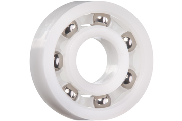 xiros® radial ball bearings, xirodur B180, stainless steel balls, cage made of xirodur B180, mm