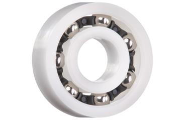 xiros® radial ball bearings, xirodur B180, stainless steel balls, cage made of PA, mm