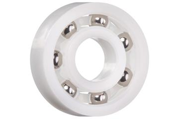 xiros® radial ball bearings, xirodur B180, stainless steel balls, cage made of PE, mm