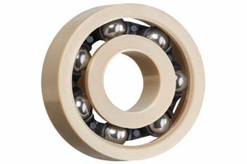 xiros® radial ball bearings, xirodur A500, stainless steel balls, cage made of PA, mm